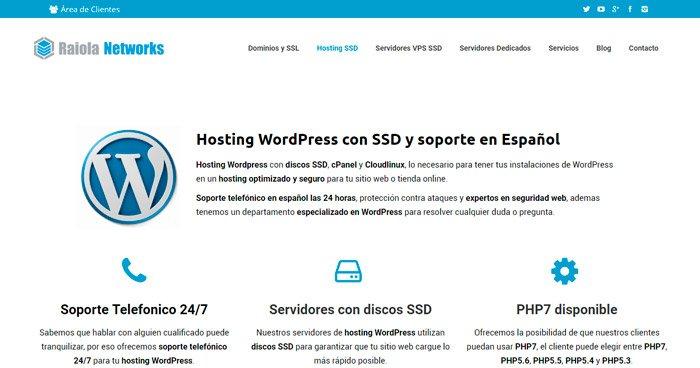 Mejor hosting para wordpress - Opinión Raiola Networks