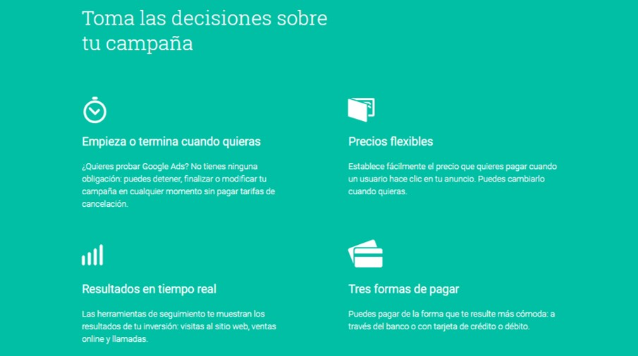 Decisiones de campaña - tutorial de Google Adwords Ads